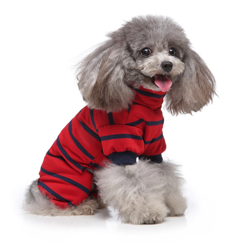 Indexbild 3 - Gestreifte Baumwolle Haustier Hund Kleidung Winter Warme Hund Overalls Stra Q9L2