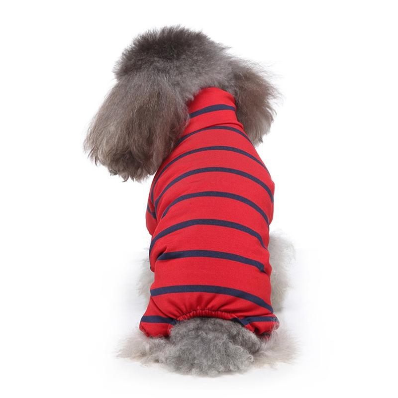Indexbild 7 - Gestreifte Baumwolle Haustier Hund Kleidung Winter Warme Hund Overalls Stra Q9L2
