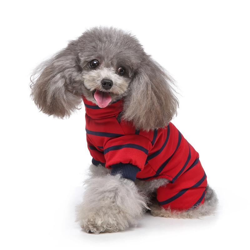 Indexbild 8 - Gestreifte Baumwolle Haustier Hund Kleidung Winter Warme Hund Overalls Stra Q9L2