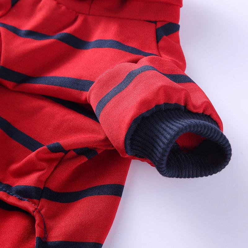 Indexbild 11 - Gestreifte Baumwolle Haustier Hund Kleidung Winter Warme Hund Overalls Stra Q9L2