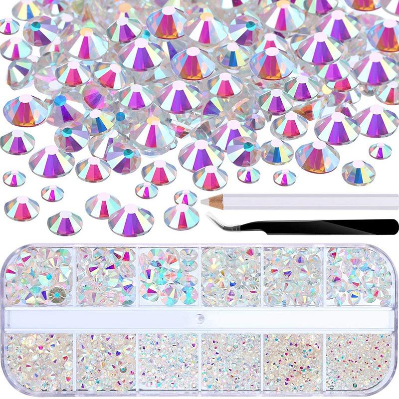 Indexbild 4 - 1X(Flat Back Gems Runde Kristall Strass mit Pinzette und Picking Pen für Cra4I1)
