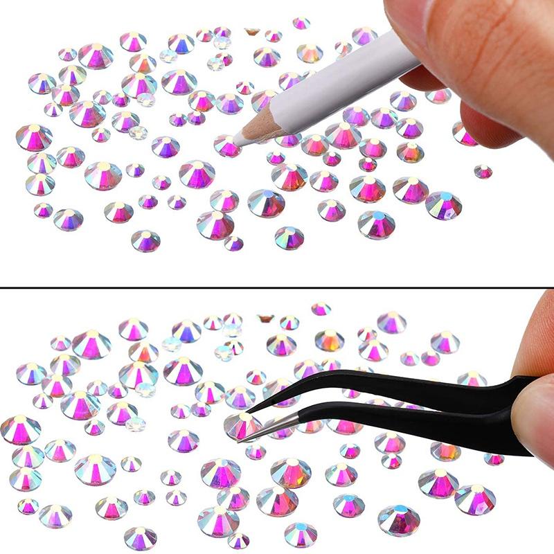 Indexbild 5 - 1X(Flat Back Gems Runde Kristall Strass mit Pinzette und Picking Pen für Cra4I1)
