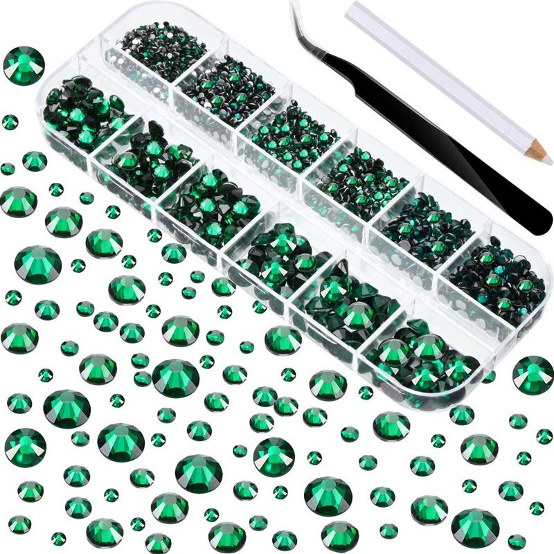Indexbild 18 - 1X(Flat Back Gems Runde Kristall Strass mit Pinzette und Picking Pen für Cra4I1)