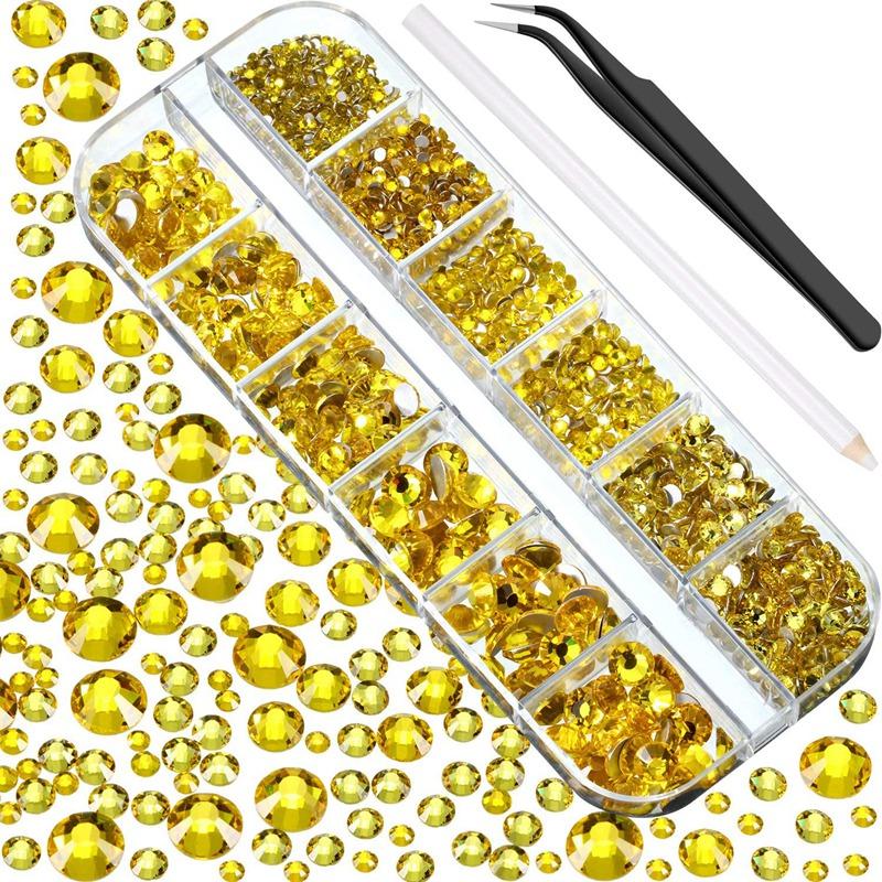 Indexbild 29 - 1X(Flat Back Gems Runde Kristall Strass mit Pinzette und Picking Pen für Cra4I1)