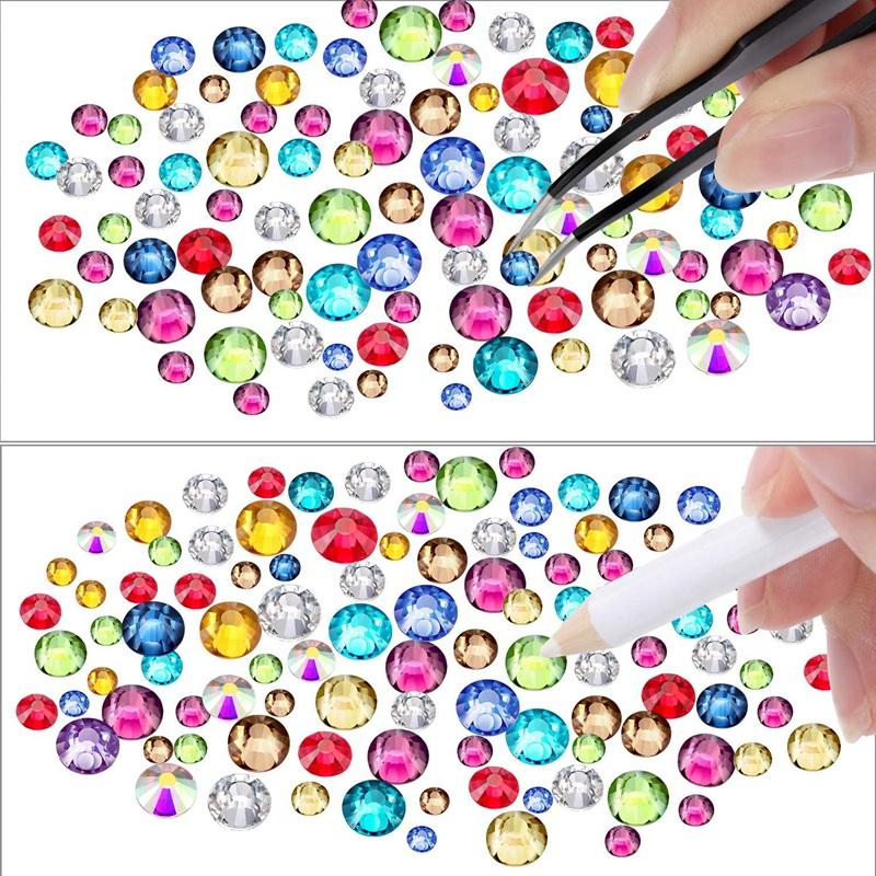 Indexbild 35 - 1X(Flat Back Gems Runde Kristall Strass mit Pinzette und Picking Pen für Cra4I1)