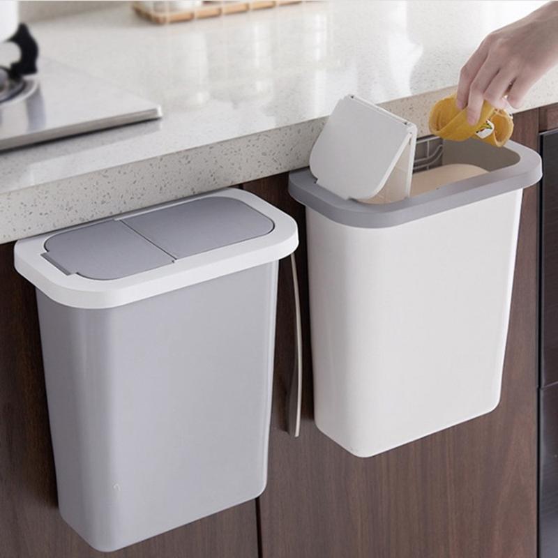 Folding Waste Bin Kitchen Cabinet Door Hanging Trash Bin ...