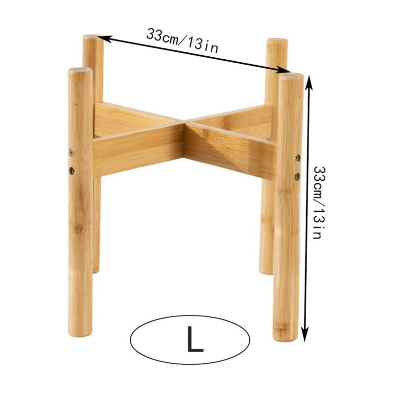 thumbnail 3 - 2-Pack-Indoor-Plant-Stand-Bamboo-Flower-Pot-Holder-Natural-Potted-Display-R-B4I3