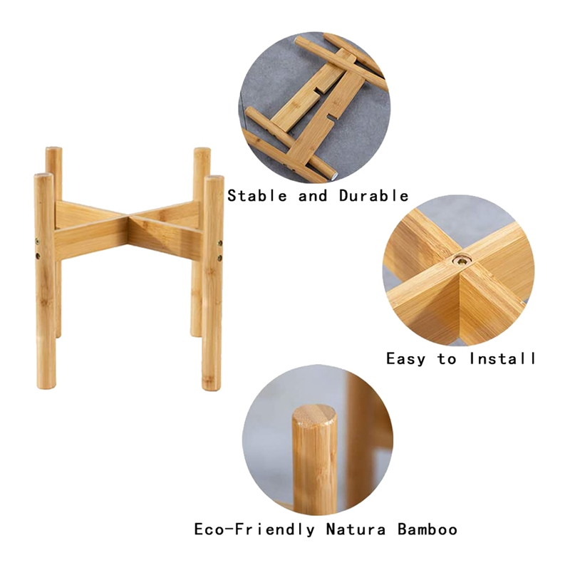 thumbnail 4 - 2-Pack-Indoor-Plant-Stand-Bamboo-Flower-Pot-Holder-Natural-Potted-Display-R-B4I3
