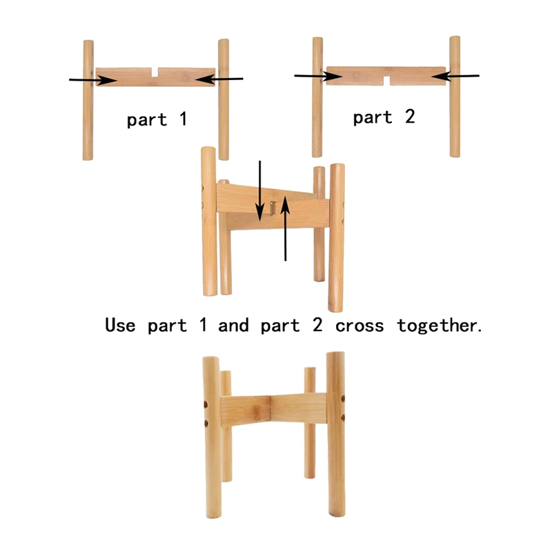 thumbnail 6 - 2-Pack-Indoor-Plant-Stand-Bamboo-Flower-Pot-Holder-Natural-Potted-Display-R-B4I3