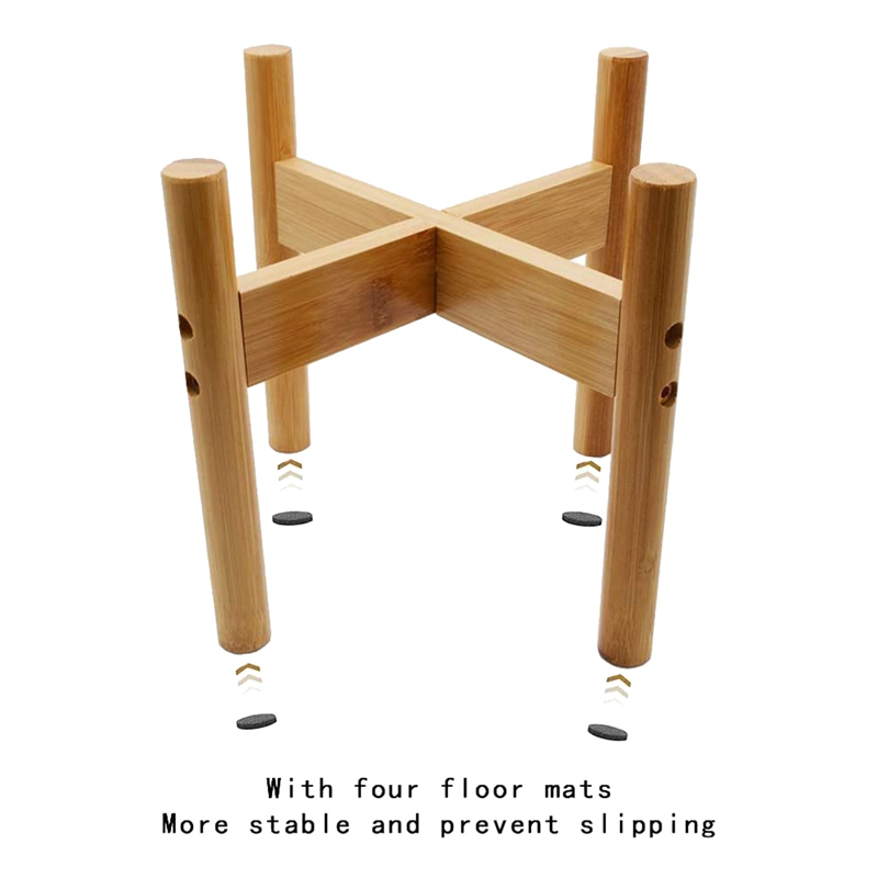thumbnail 7 - 2-Pack-Indoor-Plant-Stand-Bamboo-Flower-Pot-Holder-Natural-Potted-Display-R-B4I3