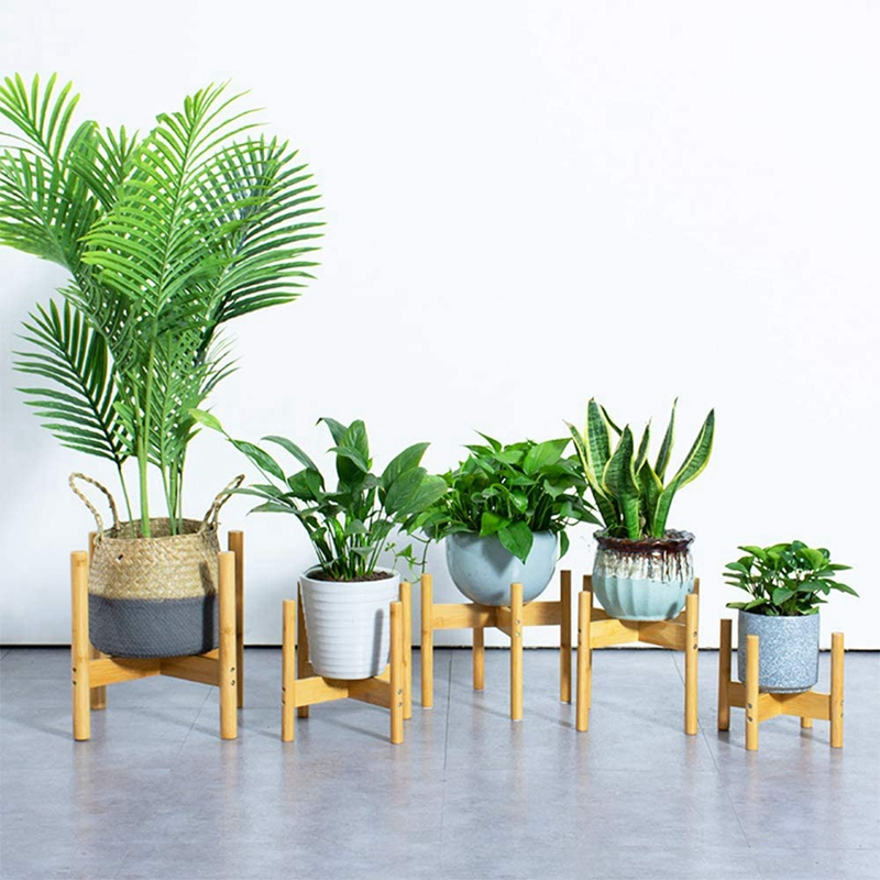 thumbnail 9 - 2-Pack-Indoor-Plant-Stand-Bamboo-Flower-Pot-Holder-Natural-Potted-Display-R-B4I3