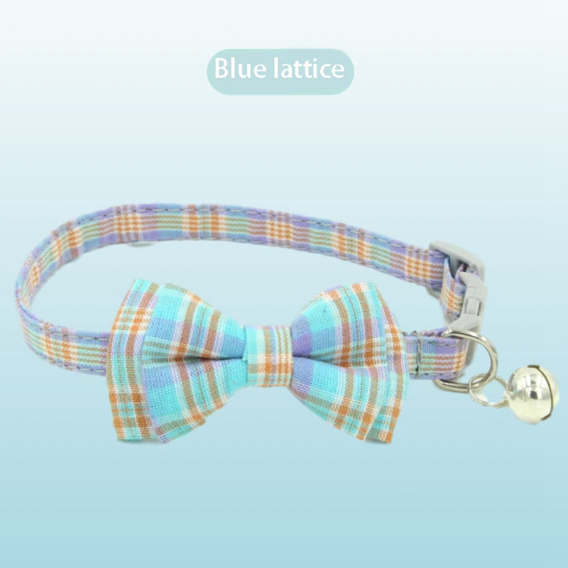 thumbnail 3 - 3X(Pet Dog Supplies Cute Buckle with Bell Pets Dog Collar with Lattice Bowk9W1)
