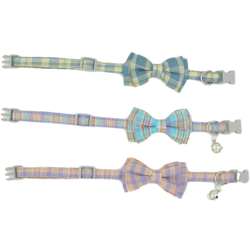 thumbnail 7 - 3X(Pet Dog Supplies Cute Buckle with Bell Pets Dog Collar with Lattice Bowk9W1)