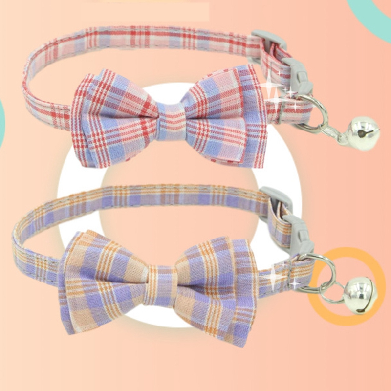 thumbnail 10 - 3X(Pet Dog Supplies Cute Buckle with Bell Pets Dog Collar with Lattice Bowk9W1)