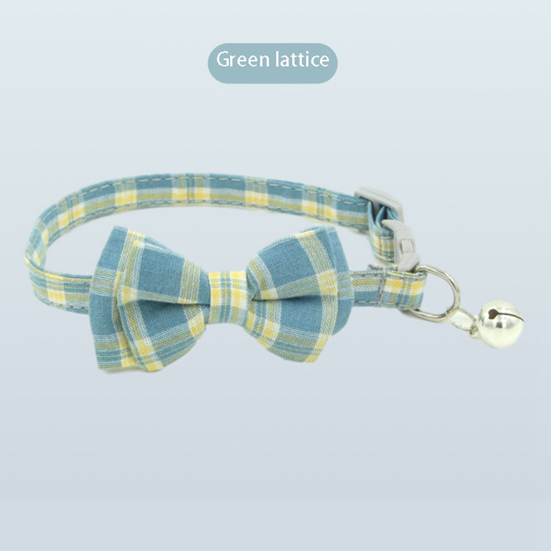 thumbnail 15 - 3X(Pet Dog Supplies Cute Buckle with Bell Pets Dog Collar with Lattice Bowk9W1)