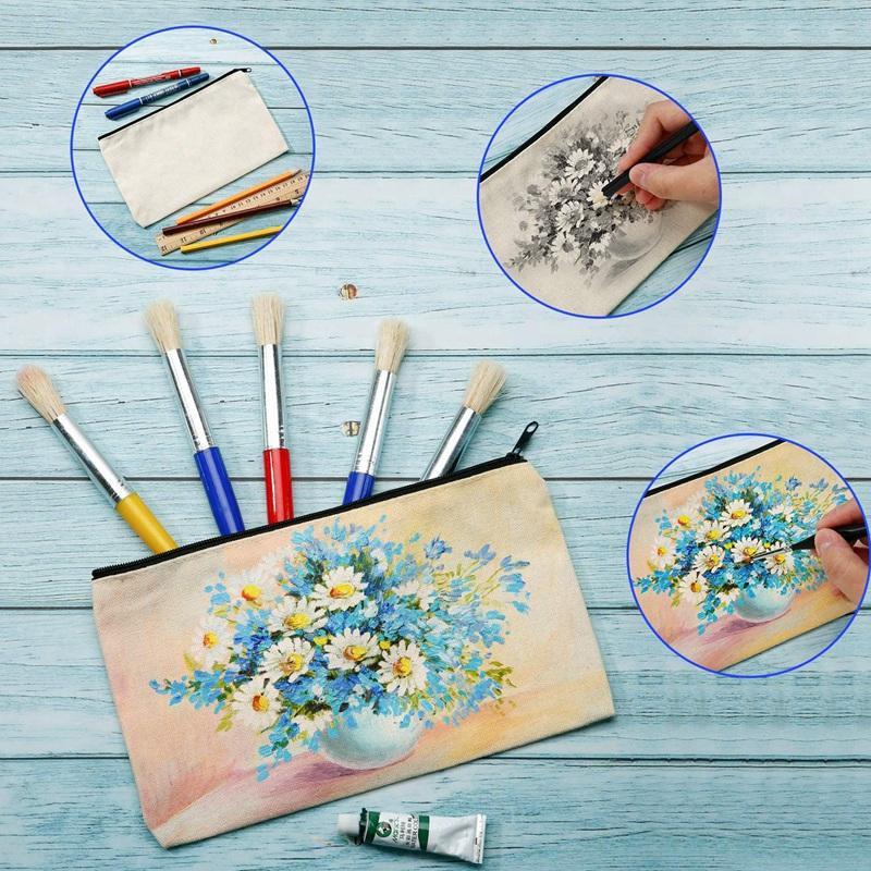 20X(Canvas Cosmetic Bag Canvas Zip Bag Pencil Case Blank ...