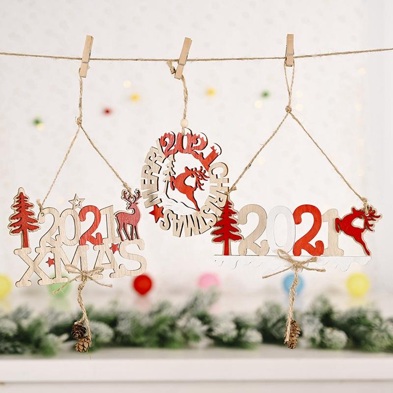 5X-2021-Weihnachten-Neujahr-Elch-Holz-Handwerk-Weihnachtsbaum-HaeNgen-AnhaeNgK2Q2 Indexbild 5