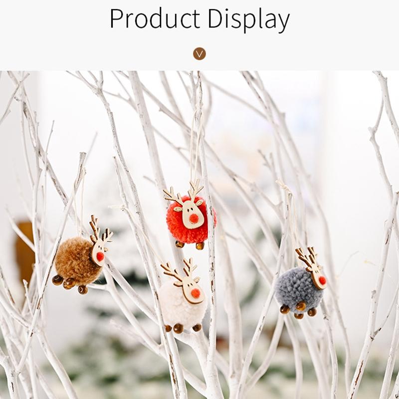 Indexbild 7 - 4-PACK-Niedlich-Filz-Holz-Elch-Weihnachts-Baum-Dekorationen-HaeNgen-AnhaeNger-U1C7
