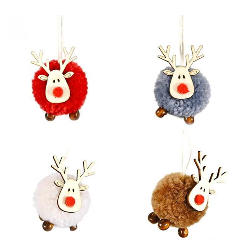 4-PACK-Niedlich-Filz-Holz-Elch-Weihnachts-Baum-Dekorationen-HaeNgen-AnhaeNger-U1C7