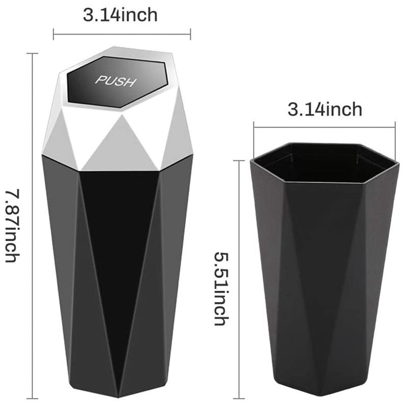 thumbnail 3 - Car Trash Can, Trash Can with Lid, Diamond Design, Leak-Proof Car Trash Can Y5G4