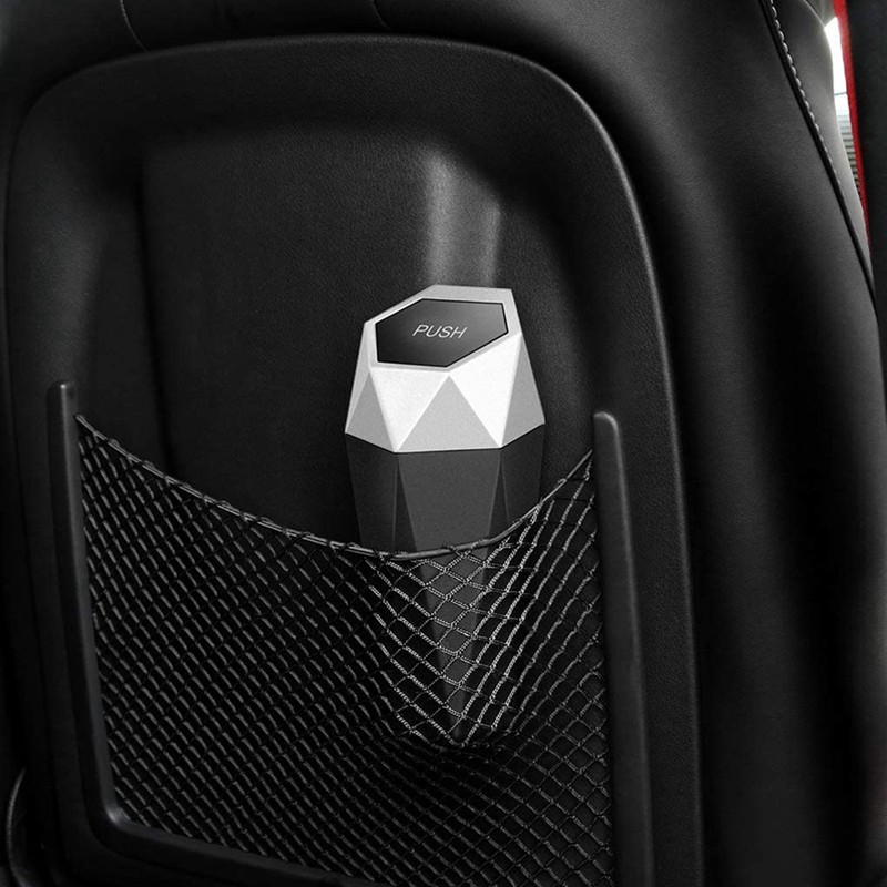thumbnail 7 - Car Trash Can, Trash Can with Lid, Diamond Design, Leak-Proof Car Trash Can Y5G4