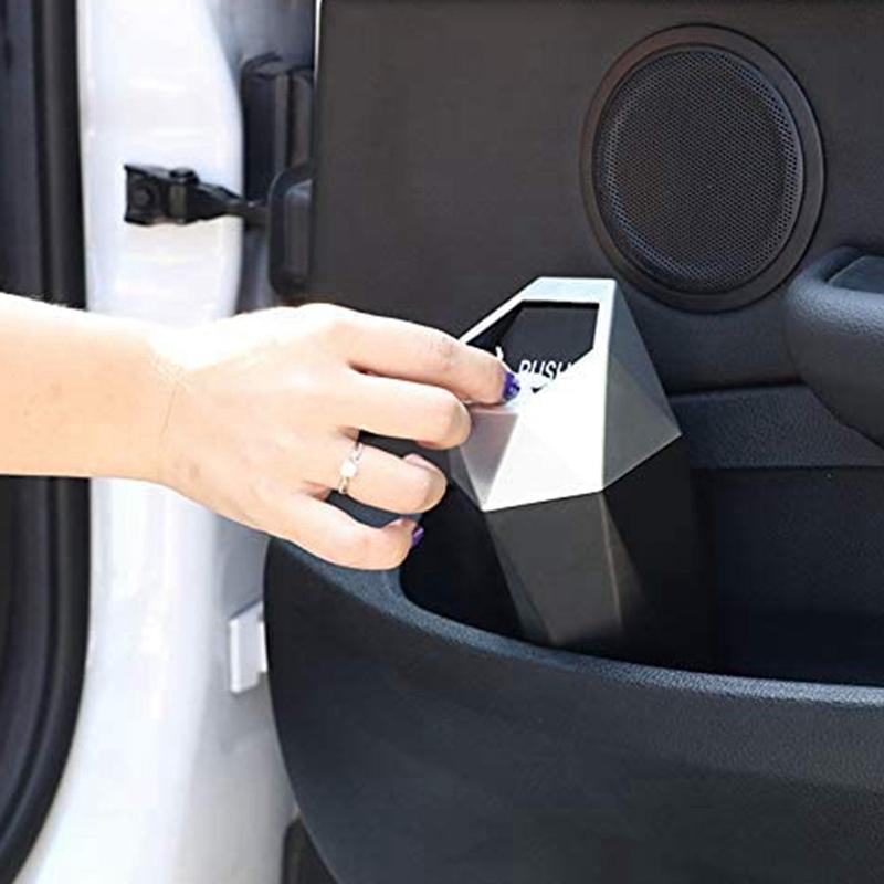 thumbnail 8 - Car Trash Can, Trash Can with Lid, Diamond Design, Leak-Proof Car Trash Can Y5G4