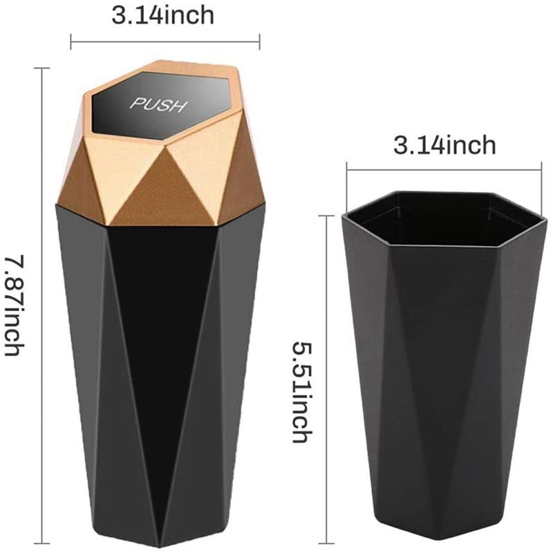 thumbnail 11 - Car Trash Can, Trash Can with Lid, Diamond Design, Leak-Proof Car Trash Can Y5G4