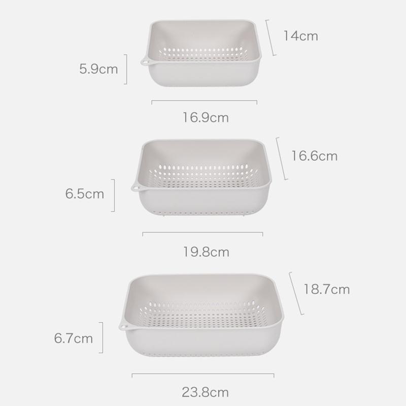 Indexbild 6 - 3X(KüChe Drei Schichten Plastiksieb Abflusskorb Obst GemüSe Waschsieb Zusamm6V3)