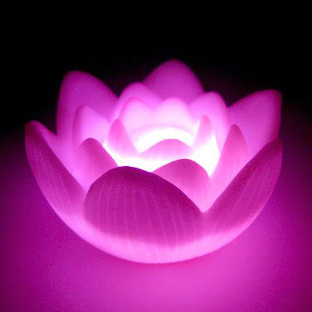 Color changing led lotus flower love mood lamp night light for Light up flower lamp