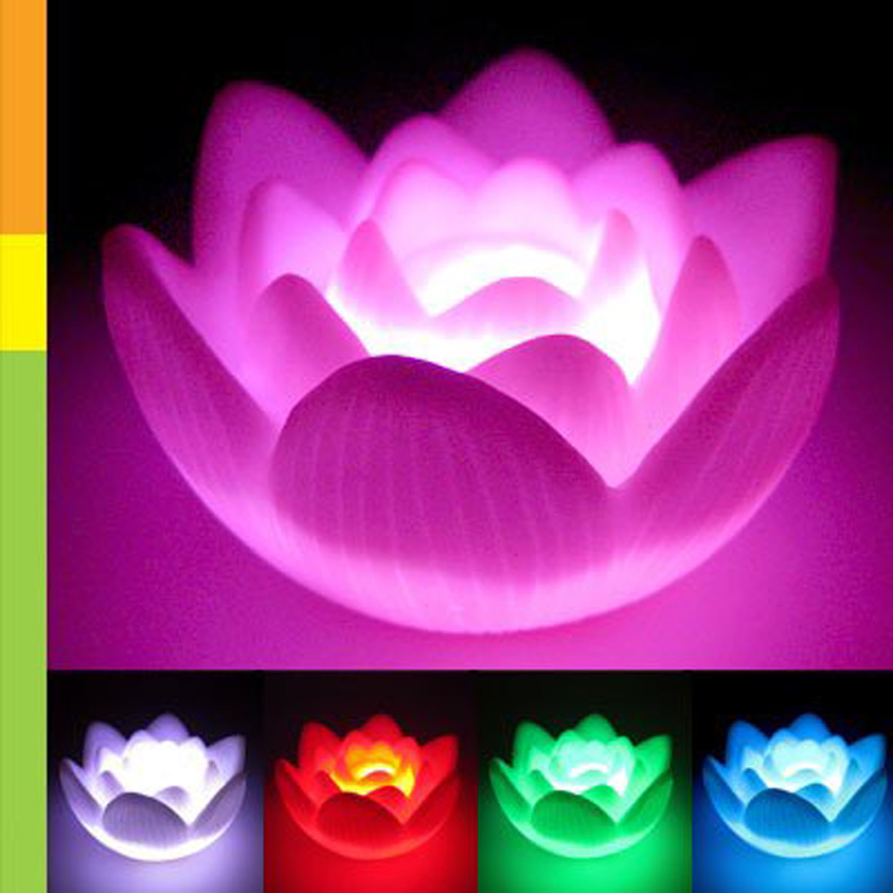 Color Changing Led Lotus Flower Love Mood Lamp Night Light Wedding
