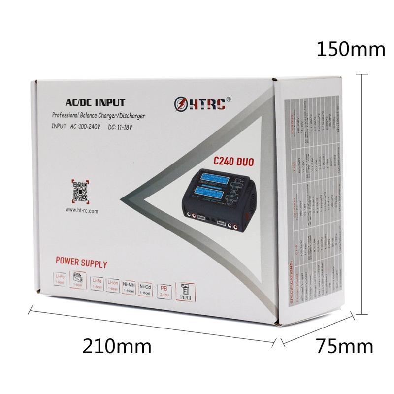 1X(HTRC C240 DUO AC 150 W DC 240 W Double Canal 10A RC Chargeur de batterie 3M5)