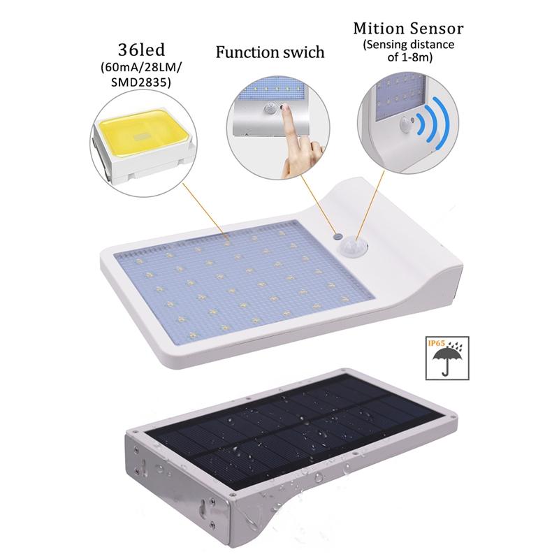 36-LED-luz-de-energia-solar-brillante-Sensor-de-movimiento-PIR-Seguridad-al-a-PB miniatura 6