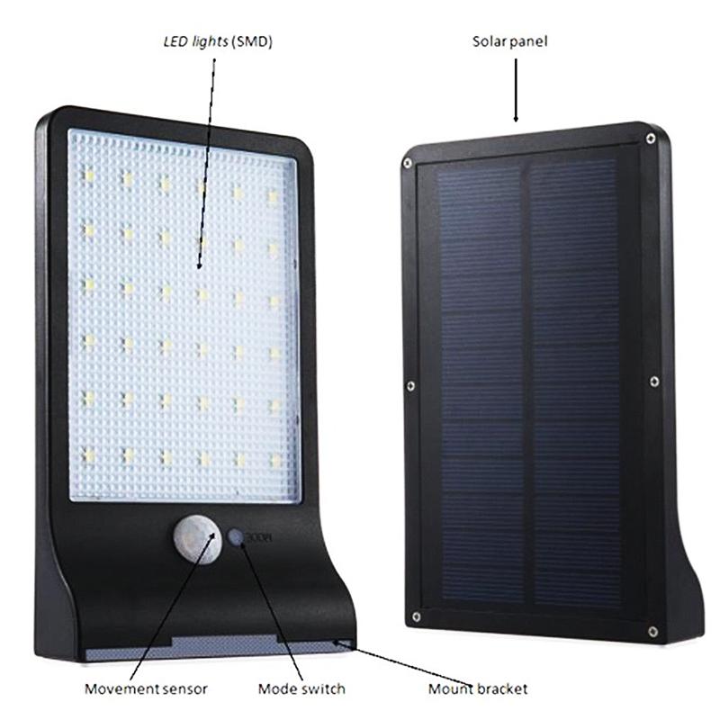 36-LED-luz-de-energia-solar-brillante-Sensor-de-movimiento-PIR-Seguridad-al-a-PB miniatura 13