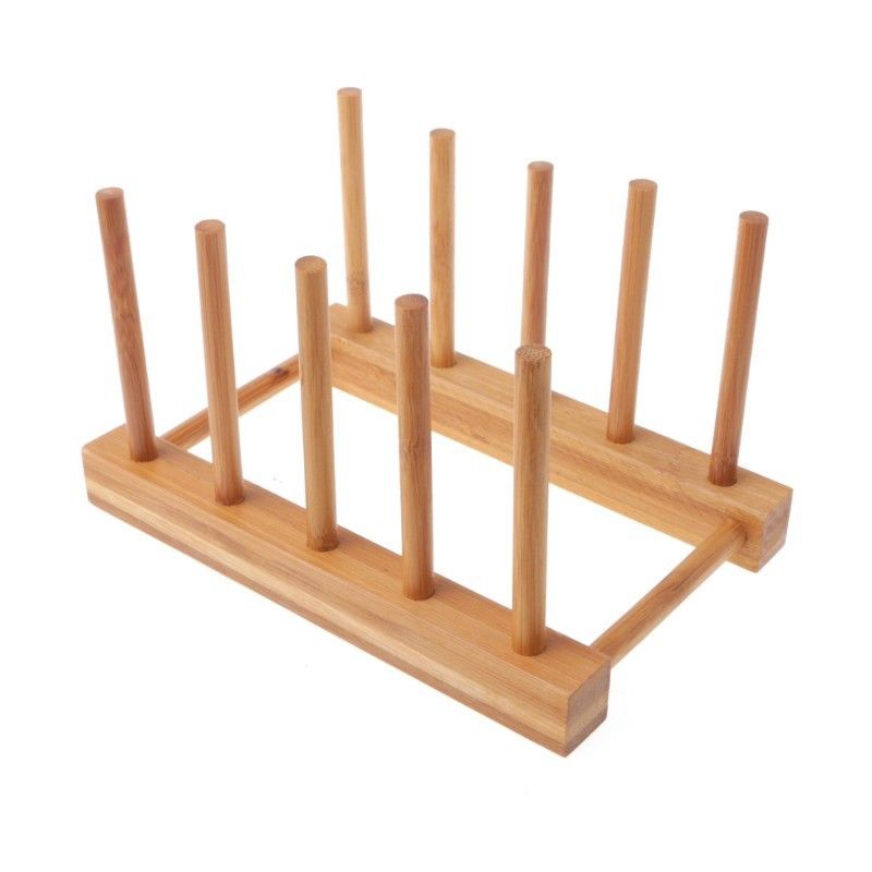 Holds Securely - Tines hold plates or glasses firmly upright to prevent cracking or damage to delicate dishes or glassware And it holds up to 8 plates ...  sc 1 st  eBay & Dish Rack Pots Wooden Plate Stand Wood Kitchen Cup Display Drainer ...