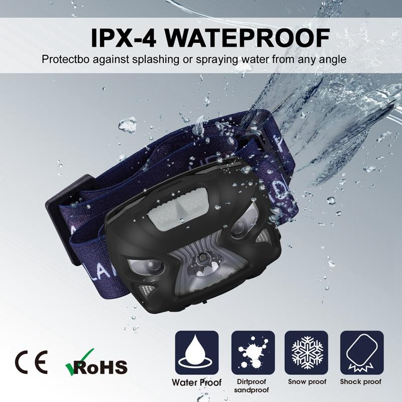5X(USB Wiederaufladbare Sensor Kopf Taschenlampe Wasserdichte LED Scheinwer V2D5