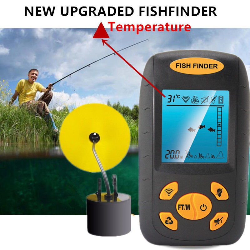 1X(2018 New Sonar Fish Finder Fishing Depth Sonar Sensor Alarm Transducer G9X7)