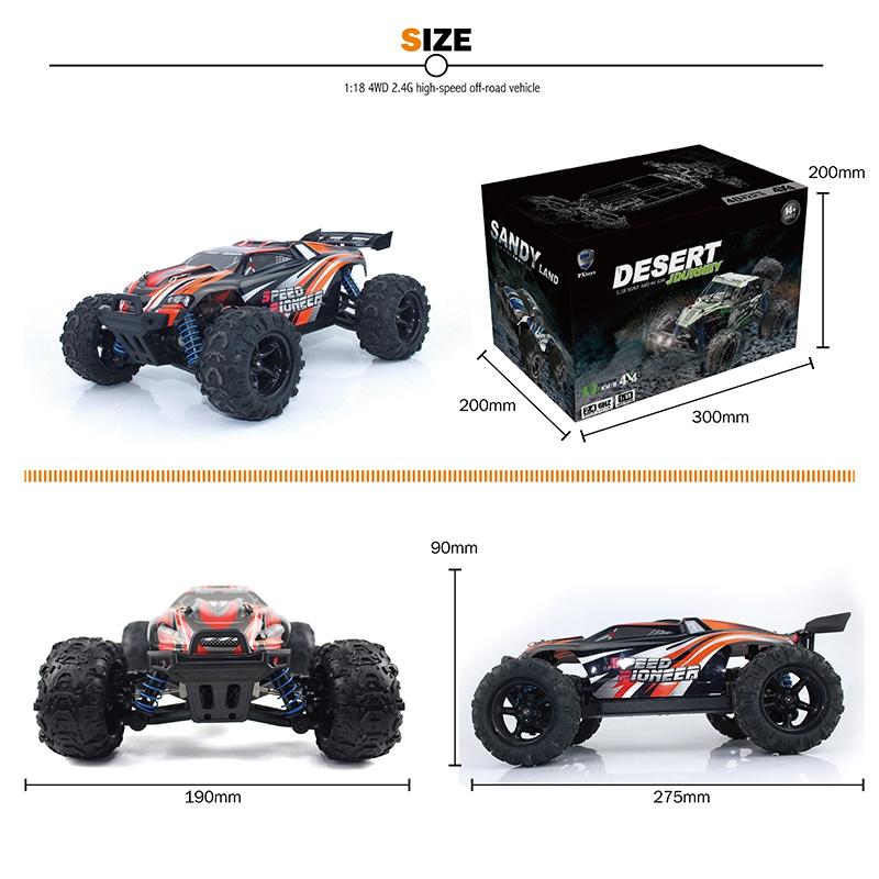 2.4GHz 4WD 1 18 Coche de autoreras RC de de de control remoto de alta velocidad Ca T3R2 e82e6a
