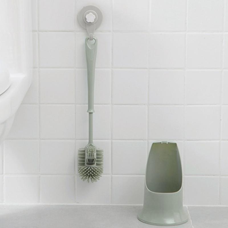 6X (Inodoro Cepillo Exfoliante de baño Mango de plástico doble cara cepillo de limpieza T2H9)