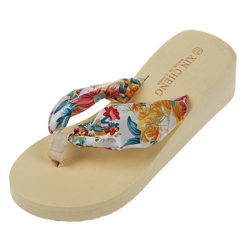 Sandalia-De-Playa-Floral-Bohemio-De-Mujer-Zapatillas-Pantuflas-De-Plataform-N7A2 miniatura 19